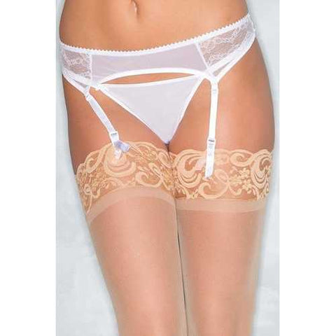 BW1539WT Lace Garter Belt - White-Women Lingerie-SJI Shop