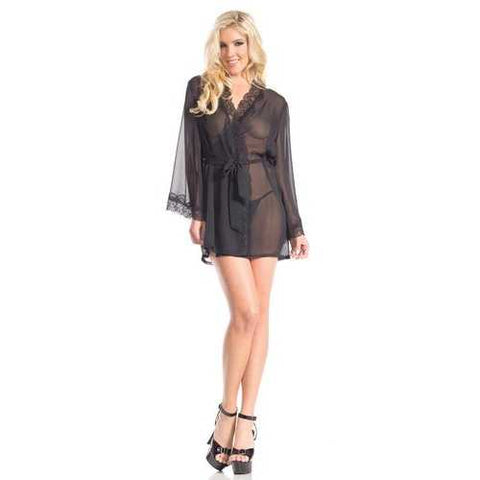BW1629 Mesh Around Robe - Black-Women Lingerie-SJI Shop