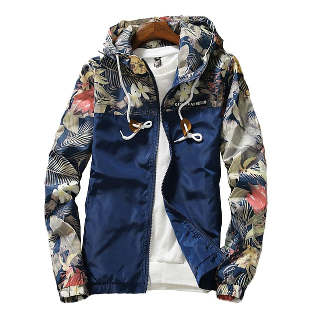 Floral Bomber Jacket Men Hip Hop Slim Fit Flowers Pilot Bomber Jacket Coat Men's Hooded Jackets Plus Size 4XL