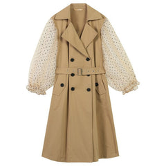 Woman Trench Coat Full Turn-down Collar Long Knitted Ladies Trench Coat Lantern Sleeve Femme Coats