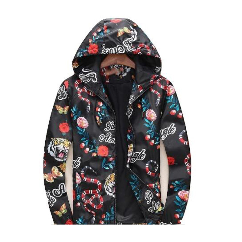 Men's Jackets Zipper Pocket Animal Flower Letter Pattern Casual Windbreaker Coat