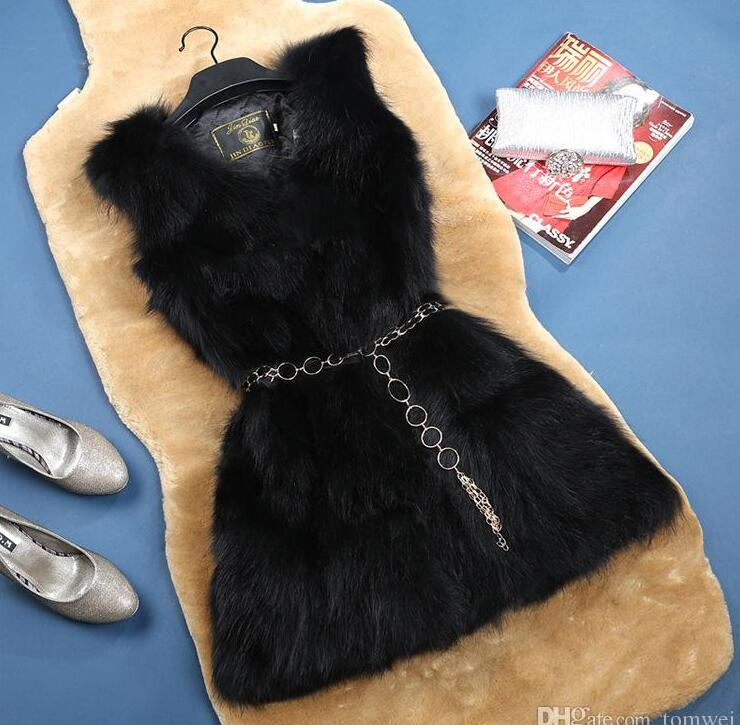 Fox Fur Vest Womens Winter Jackets Sleeveless Real Fur Waistcoat Thick Warm Outwear Overcoat Tops