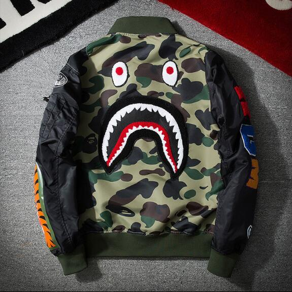 Bomber Flight jacket Patch shark head Warm fashion coats Baseball clothing