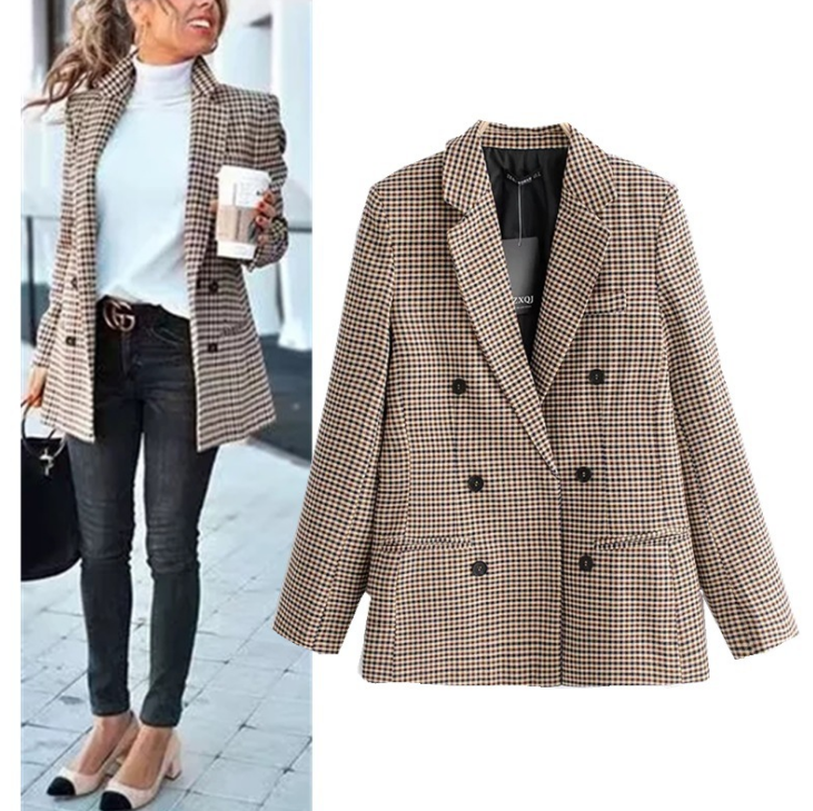 Double breasted short plaid women blazer Long sleeve pocket tweed ladies blazer  Winter jacket office suit female