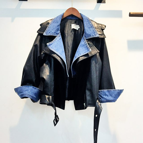 Autumn False Two Leather Patchwork Denim Jacket Coats All-match Loose Woman Pu Jackets Cool Overcoat Dophee