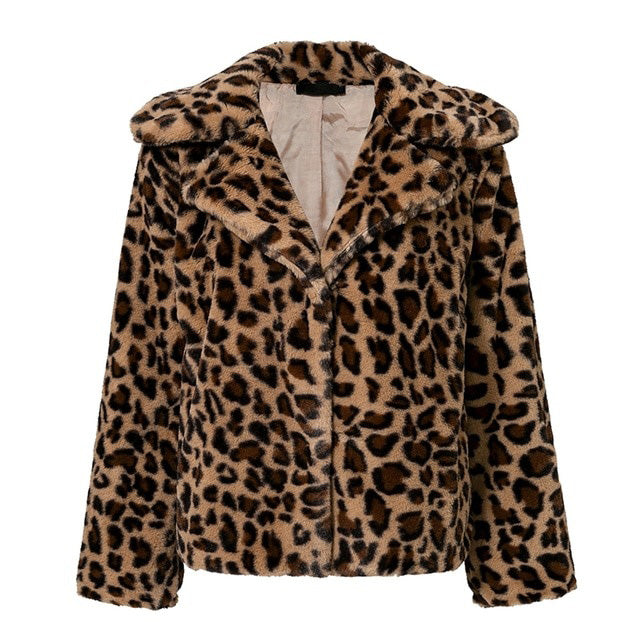 Streetwear leopard print faux fur coat Women soft short winter jacket coat Female casual button pocket outwear 2018