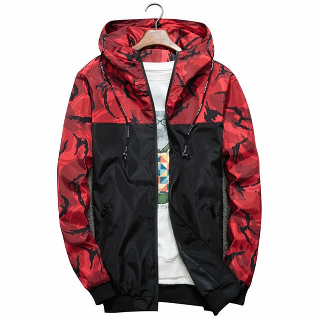Men's Bomber Jacket Slim Camouflage Military Hooded Coat Windbreaker Zipper Outwear