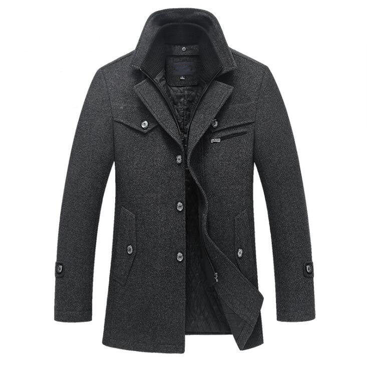Winter Wool Coat Slim Fit Jackets Men Casual Outerwear
