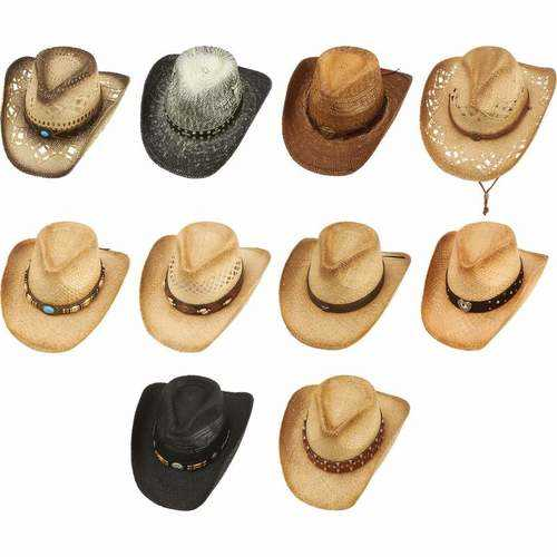10pc Cowboy Hat Set