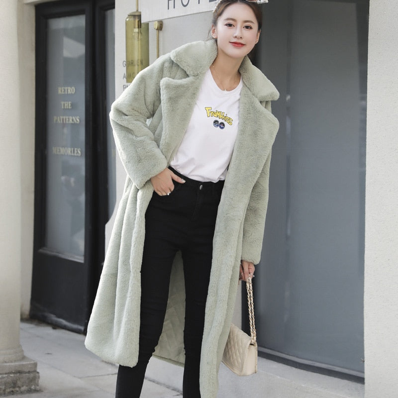 Winter Women High Quality Faux Rabbit Fur Coat Luxury Long Fur Coat Loose Lapel OverCoat Thick Warm Plus Size Female Plush Coats