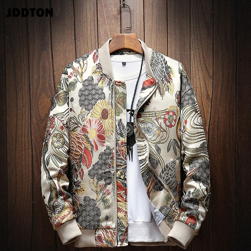 Mens Japanese Embroidery Bomber Jacket Loose Baseball Uniform Streetwear Hip Hop Coats Casual Male Outwear Clothing