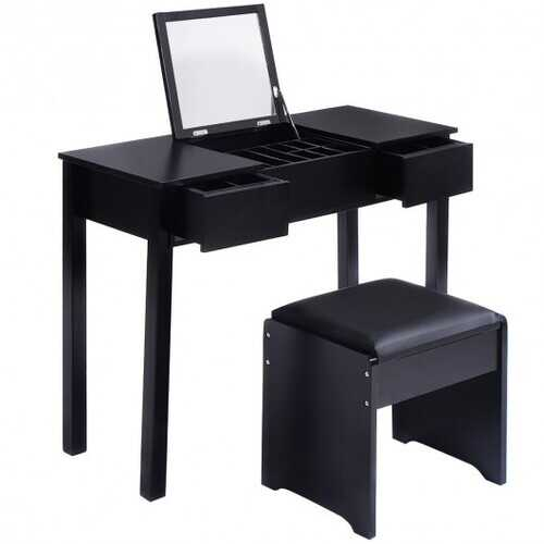 Black / White Vanity Makeup Dressing Table Writing Desk Set with Flip Top Mirror and Cushioned Stool-White