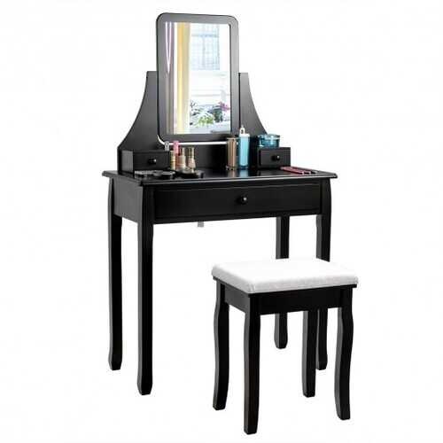 Square Mirrored Vanity Dressing Table Set with 3 Storage Boxes-Black