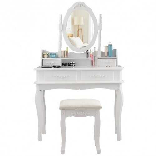 Vanity Makeup Table Set with Cushioned Stool and Rotatable Mirror