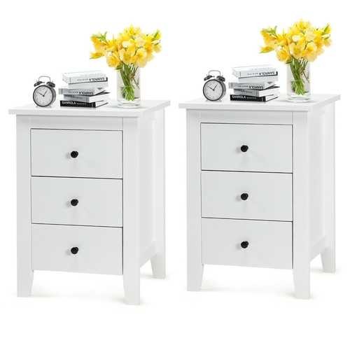 2 pcs Nightstand End Beside Table Drawers