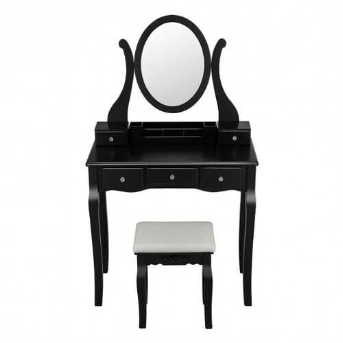 Vanity Set with Removable Makeup Organizer and Comfortable Cushioned Stools