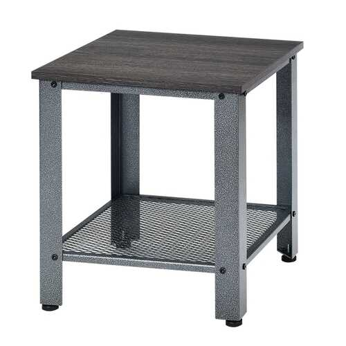 Industrial End Table 2-Tier Side Table-Silver