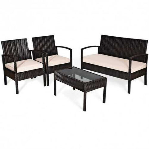 4 Pcs Patio Furniture Sets Rattan Chair Wicker Set Outdoor Bistro