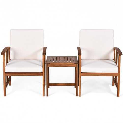 3PC Solid Wood Outdoor Patio Sofa Furniture Set-White