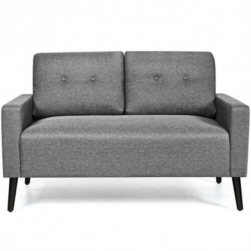 "55""Modern Loveseat Sofa with Cloth Cushion-Gray"
