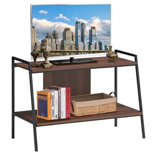 2 Tier Open Shelf Industrial Wood Metal Bookcase and TV Stands