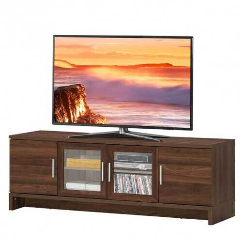 Media Entertainment TV Stand for TVs up to 70 Inches with Adjustable Shelf-Walnut