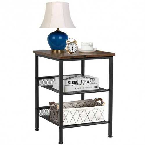 3-Tier Industrial End Side Table Nightstand Adjustable Shelves