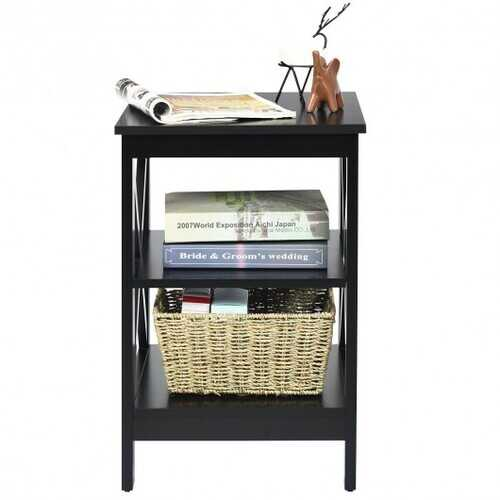 3-Tier Nightstand End Table with X Design Storage -Espresso