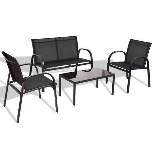 4 pcs Patio Furniture Set with Glass Top Coffee Table-Black
