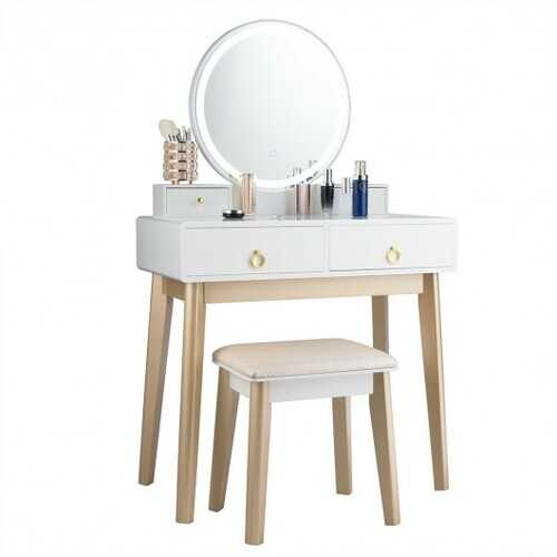 Set 3 Makeup Vanity Table Color Lighting Jewelry Divider Dressing Table-White - Color: White