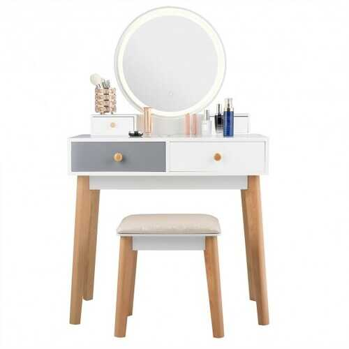 Set 3 Vanity Table Color Lighting Modes Make Up Table & Stool Set