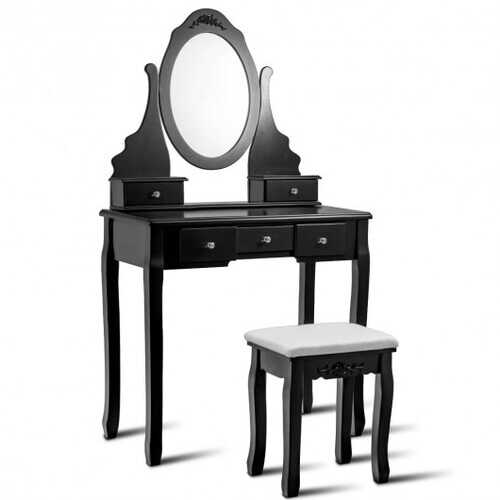 Wooden Vanity Set with 360? Rotating Oval Mirror and Cushioned Stool-Black