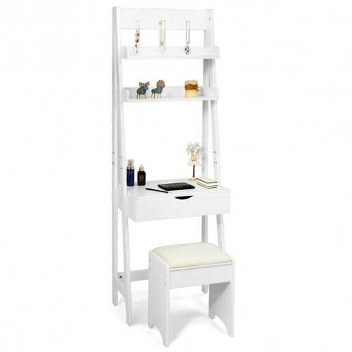 Makeup Dressing Table Shelf Vanity Set with Flip Top Mirror