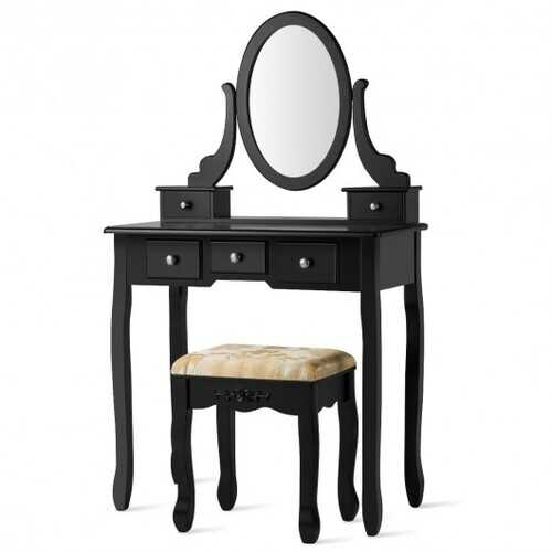 Vanity Make Up Table Set Dressing Table Set with 5 Drawers-Black