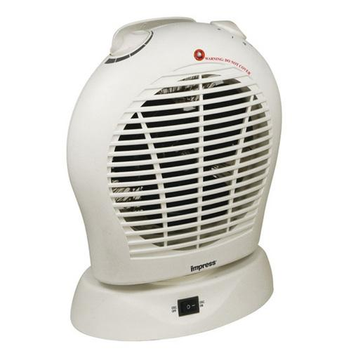 Oscillating Fan Heater with Thermostat White-Heaters & Fans-SJI Shop