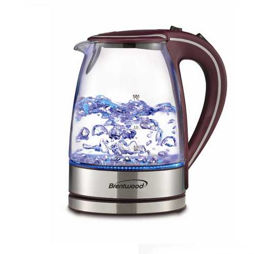 Brentwood Tempered Glass Tea Kettles, 1.7-Liter, Purple