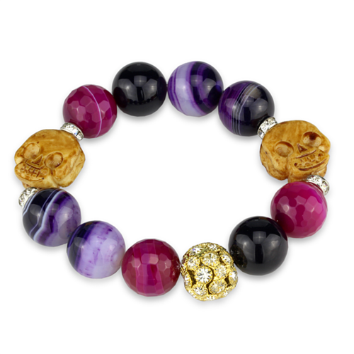 LO3775 - Brass Bracelet Gold+Rhodium Women Synthetic Multi Color