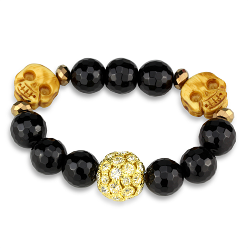 LO3776 - Brass Bracelet Gold Women Synthetic Jet