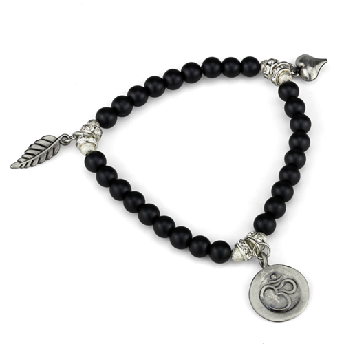 LO3798 - Brass Bracelet Antique Silver Women Synthetic Jet