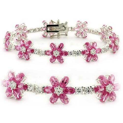 LOAS956 - 925 Sterling Silver Bracelet High-Polished Women AAA Grade CZ Rose