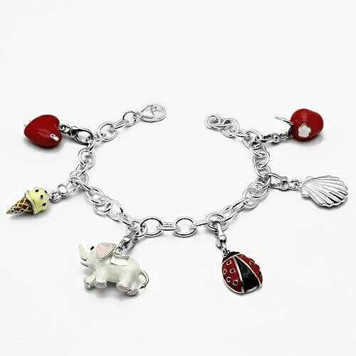 LOS607 - 925 Sterling Silver Bracelet Silver Women Epoxy Multi Color