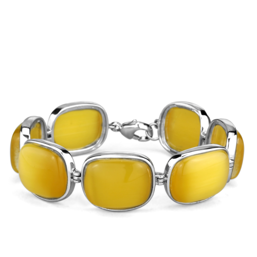 LOS763 - 925 Sterling Silver Bracelet Rhodium Women Synthetic Topaz