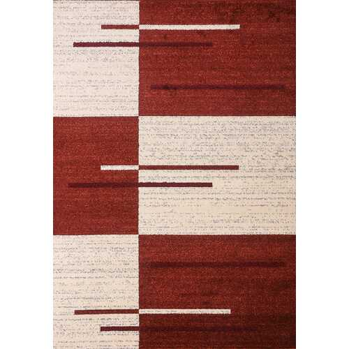 Piano String Red Beige Area Rug 5 ft. by 7 ft.-Rugs-SJI Shop