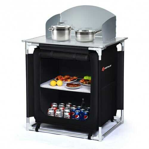 Portable Outdoor Camping Cooking Table with Storage Organizer