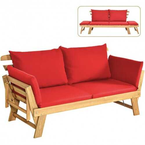 Adjustable  Patio Convertible Sofa with Thick Cushion -Red