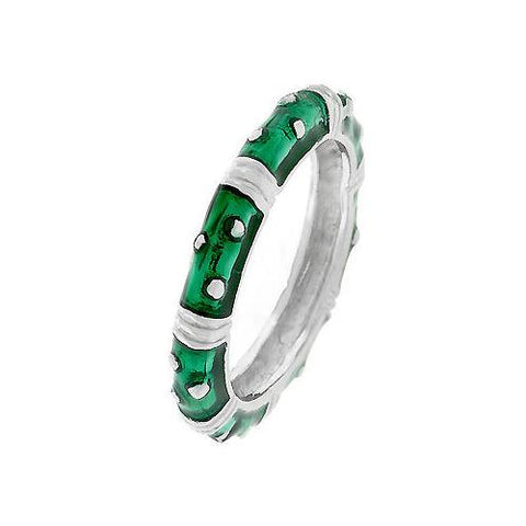 Marbled Dark Green Enamel Stacker Ring-Rings-SJI Shop