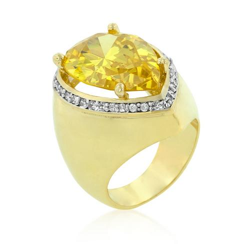 Yellow Pear Cubic Zirconia Cocktail Ring-Rings-SJI Shop