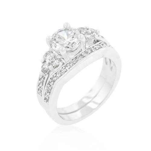 Triple Stone Engagement Set-Rings-SJI Shop