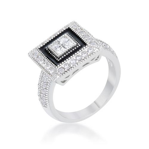 Shira 0.7ct CZ Rhodium Antique Ring