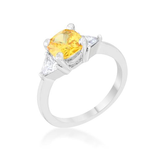 Shonda 1.8ct Canary CZ Rhodium Cushion Classic Statement Ring-Rings-SJI Shop